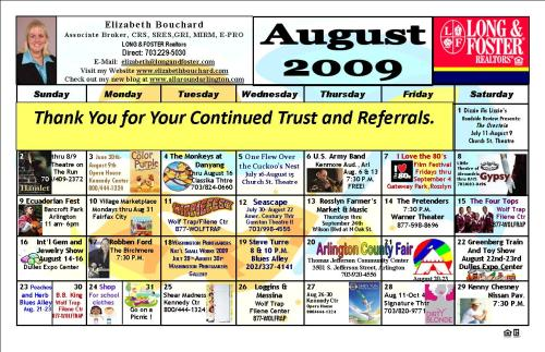 August Calendar of Area Events